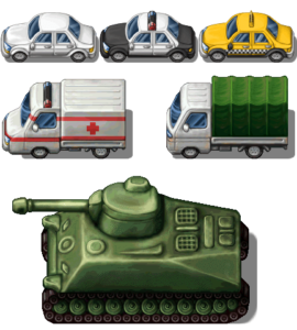 Tileset coches tanque camiones